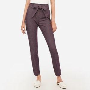 Plum Paperbag High Waist Sash Belt Dress Pants